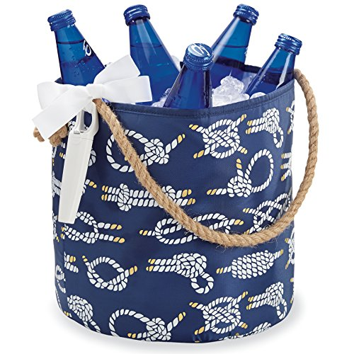 Mud Pie Nautical Party Insulated Bucket Tote & Bottle Opener Set (Navy Rope Knot) (Mud Pie Bucket compare prices)