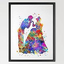 8X10 Cinderella Dancing with Prince Disney Princess Watercolor Art Print Wall Art Home Decor Wall Ha