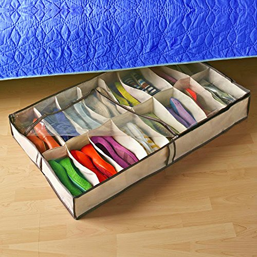 Zuitcase 12 Shoe Under The Bed Shoe Storage Home Organizer With Zippered  Clear Cover, Perfect Family, Kids Shoe Storage Solution, Wardrobe Organizer  ...