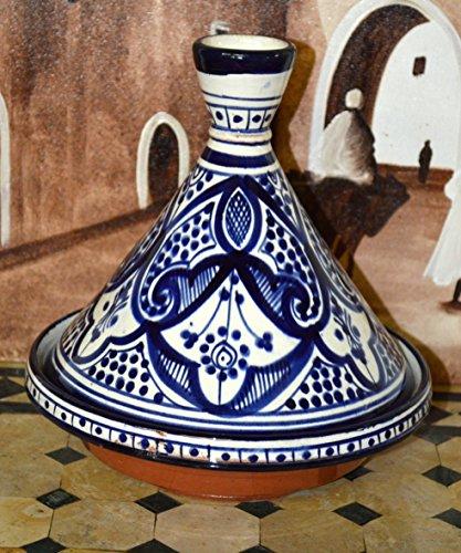 Moroccan Handmade Serving Tagine Exquisite Ceramic With Vivid colors Original 8 inches Across
