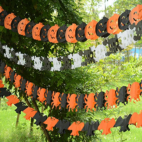 Beles Scare Halloween Party Witches Skeleton Spider Pumpkin & Bats Hanging Decoration, Multicolor (Halloween Cutouts For Pumpkin Carving)