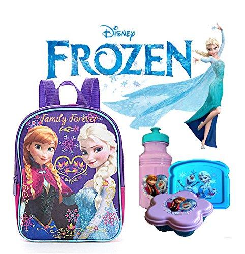 """Disney Frozen Anna & Elsa """"Family Forever"""" Purple Girls 10"""" Mini Toddlers Backpack Plus Bonus 3 Pc. Frozen Lunch Set! front-812972"""