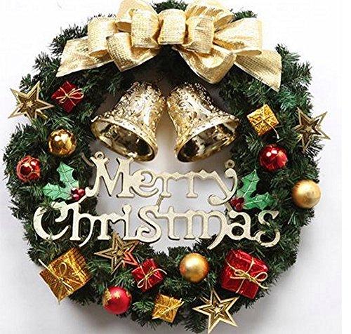 クリスマス リース 玄関 飾り ドア 鈴 ベル ギフト かわいい デコレーション 雑貨 ゴージャス 30㎝ (金色 ゴールド gold)