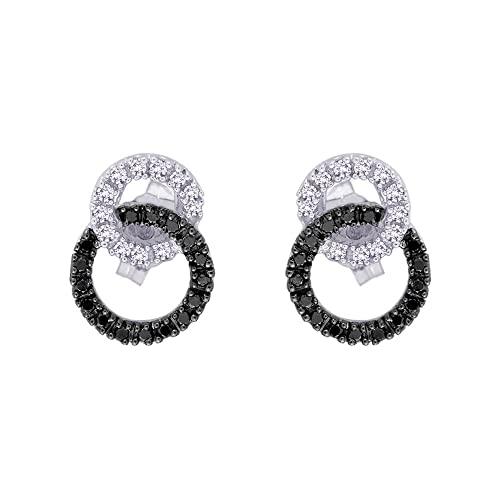 ¼ Carat Black and White Diamond Interlock Earrings