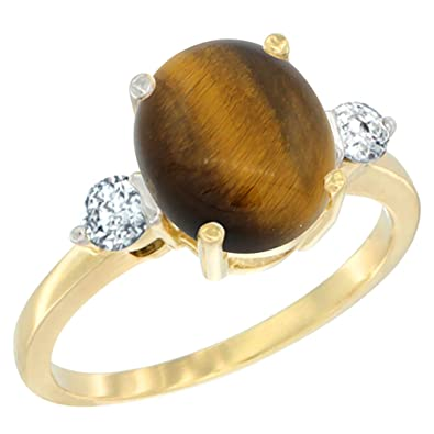 14ct Yellow Gold Natural Tiger Eye Ring Oval 10x8mm Diamond Accent, sizes J - T