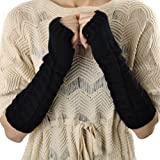 Women Slouch Cable Knit Arm Warmers Fingerless Gloves Winter Fashion