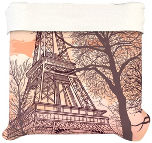 Kess Inhouse 88 By 88-Inch Sam Posnick Eiffel Tower Duvet Cover, Queen front-1012073