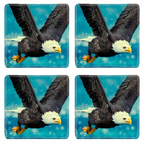Eagle Flying Sky Swing Predator Square Coaster (4 Piece) Set Fabric Rubber 5 Inch Size Liil Coaster Cup Mug Can Water Bottle Drink Coasters Stain Resistance Collector Kit Kitchen Table Top Desk front-756050