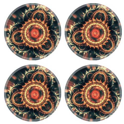 Patterns Range Light Shine Glow Round Coaster (4 Piece) Set Fabric Rubber 5 Inch Size Luxlady Coaster Cup Mug Can Water Bottle Drink Coasters Stain Resistance Collector Kit Kitchen Table Top Desk front-573702