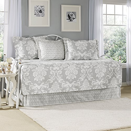 Laura Ashley 5-Piece Venetia Daybed Cover Set, Gray front-193576
