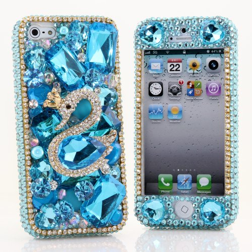 Great Sale BlingAngels® 3D Luxury Bling iphone 5 5s Case Cover Faceplate Swarovski Crystals Diamond Sparkle bedazzled jeweled Design Front & Back Snap-on Hard Case + FREE Premium Quality Stylus and Water-Resistant Bag (100% Handcrafted by BlingAngels) (Diamond Swan in Light Blue Background)