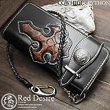 【Red Desire】パイソン×カウハイド ライダースウォレット 牛革 メンズ長財布 サイフ(RD-1)
