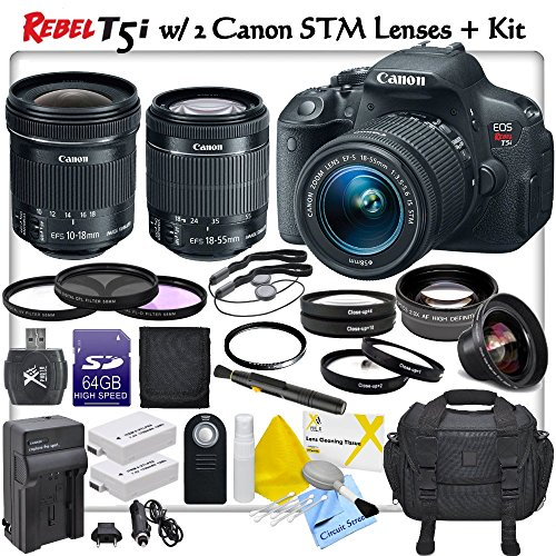 Canon Rebel T5I Digital Slr Camera With Canon Ef-S 18-55Mm F/3.5-5.6 Is Stm Lens + Canon Ef-S 10-18Mm F/4.5-5.6 Is Stm Lens & Cs Pro Lens Kit: Includes 2X Canon Lpe8 Replacement Batteries, Rapid Travel Charger, 64Gb Sdxc Memory Card, Card Reader, Deluxe C