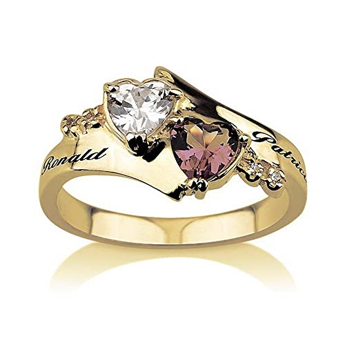 Promise-Ring-Engraved-Ring-18k-Gold-Birthstone-Ring-Heart-Ring-With-Swarovski-Stones-Couples-Ring-Split-Band-Ring