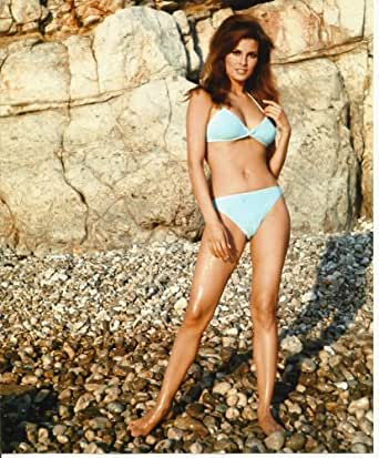 Raquel Welch Sexy blue bikini 8x10 Photo standing at Amazon's