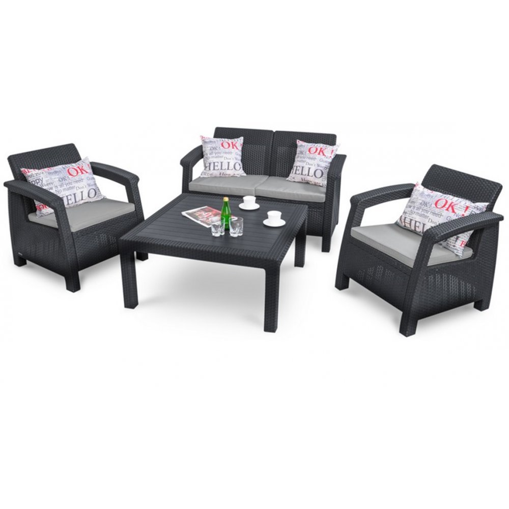 JUSThome Corfu Fiesta Family Gartenmöbel Sitzgruppe Gartengarnitur 2x Sessel + 1x Sofa + Tisch in Rattan-Optik Anthrazit Grau