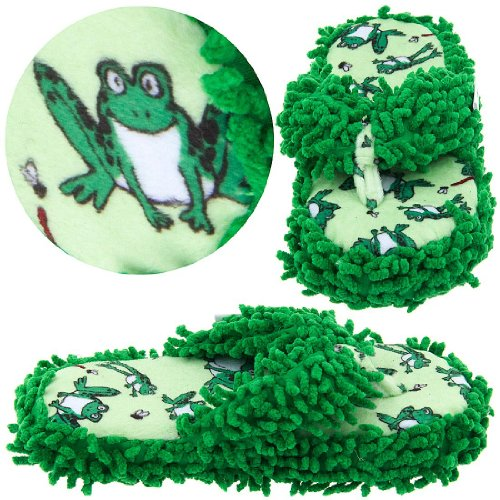 Image of Lazy One Frog Fuzzy Thong Slippers for Women (B005HEIM6I)
