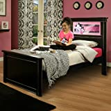 LightHeaded Beds Riviera Twin Bed with Back-Lit LED Headboard Changeable Imagery - Satin Black with hand painted pewter trim