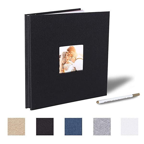 Large Self Adhesive Photo Album Magnetic Scrapbook Album 40 Magnetic Double Sided Pages Fabric Hardcover DIY Photo Album Length 13 x Width 12.6 with A Metallic Pen Khaki Inches