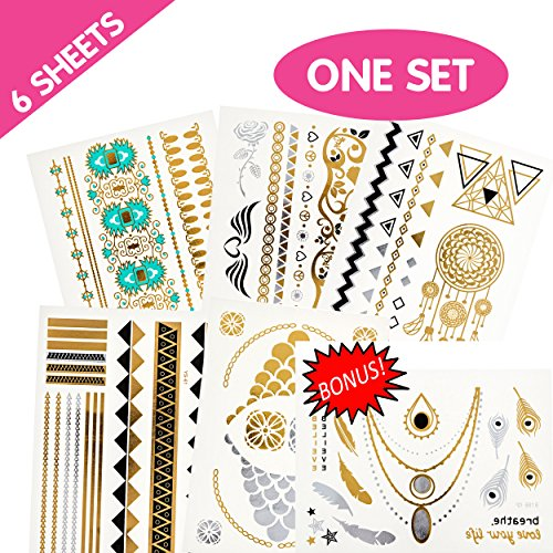 HUGE PACK Over 50 Designs Temporary Tattoos Set For Adult Women Teens Girls