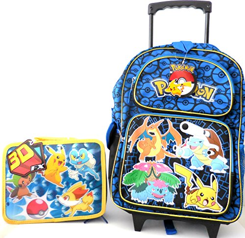 Pokemon Pikachu Large Rolling Backpack with Lunch Bag