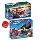 Playmobil Pirate Set Includes: Pirates Rowboat with Shark and Pirates Ship with RC Underwater Motor w/ Free DimpleChild Ring