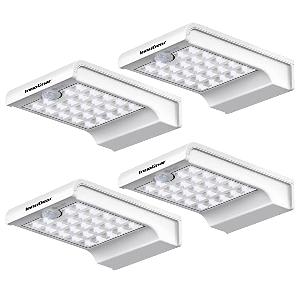 InnoGear 24 LED Solar Lights Dim to Bright Motion Sensor Outdoor Wall Light Security Light Night for Gutter Patio Garden Path, Pack of 4 (Color: White, Tamaño: Small)