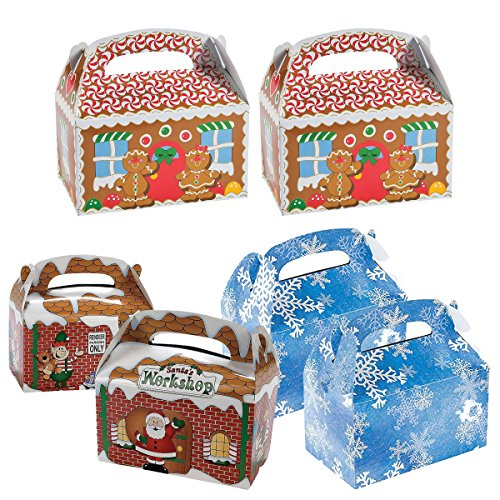 3 Dozen Christmas Holiday Cardboard Treat Boxes (36 Total) - 12 Gingerbread, 12 Snowflake, 12 Santas Workshop