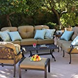 Darlee Elisabeth 6-person Cast Aluminum Deep Seating Patio Conversation Set With Ice Bucket Insert
