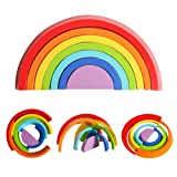 USATDD Wooden Rainbow Stacking Game Stacker Learning Toy Geometry Building Blocks Creative Nesting Educational Toys for Kids Baby Toddlers