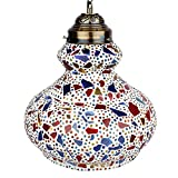 "EarthenMetal Handcrafted ""Surahi"" Shaped Mosaic Design White Coloured Glass Hanging Light"