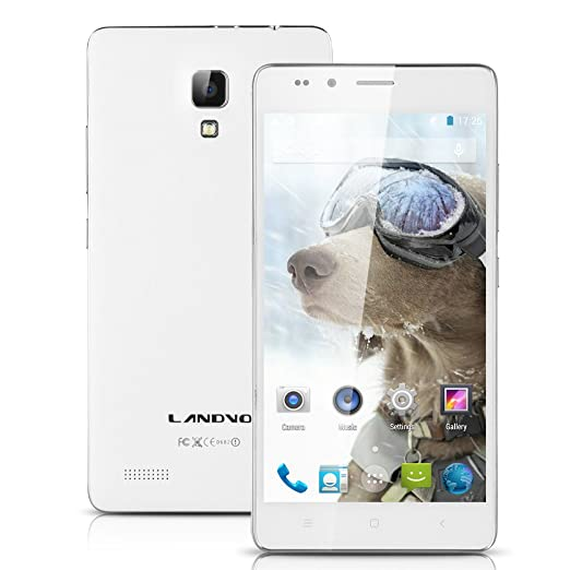 "5,0"" LANDVO L500 3G Smartphone débloqué IPS HD écran Android 4.4 Kitkat MTK6592 Octa Core Mobile Dual SIM 1Go RAM 8Go ROM caméra 8MP&2MP GPS WIFI Bluetooth portable Air Gesture -Blanc"
