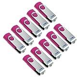 Litop® 10pcs 8GB High Quality Swiveling USB Flash Drive USB 2.0 Memory Disk U-disk Plus 10 Free Wrist Straps and 10 Free Neck Straps and 10 Wrist Straps as a Gift (10, 8GB-Hot Pink)