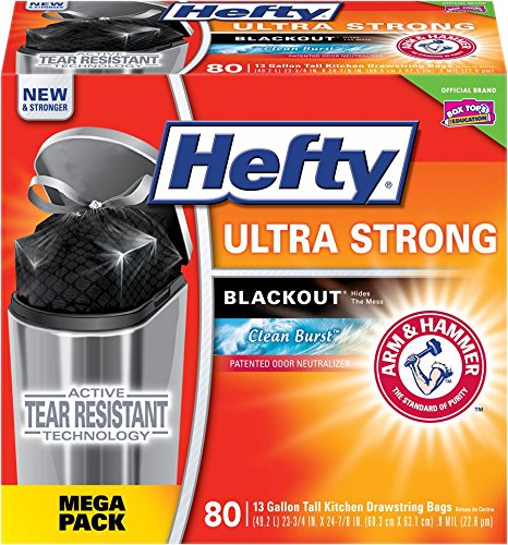 Hefty Ultra Strong Blackout Tall Kitchen Drawstring Trash Bags (Clean Burst, 13 Gallon, 80 Count) (Hefty Garbage Can compare prices)