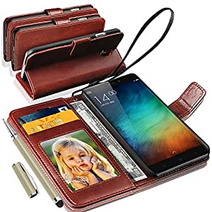 Xiaomi Redmi Note 3 Rich Leather Stand Wallet Flip Case Cover Book Pouch / Quality Slip Pouch / Soft Phone Bag (Specially Manufactured - Premium Quality) Antique Leather Case With 2 IN 1 Touch Stylus Pen Brown