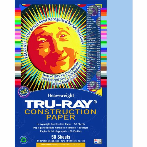Pacon Tru-Ray Construction Paper, 76 lbs., 9 x 12, Sky Blue, 50 Sheets/Pack PAC103016