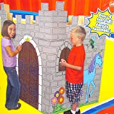 CASTLE Indoor Color-me Cardboard Playhouse for Kids, Boys, and Girls (4' Tall) and 6-pack Licensed Disney Pencils