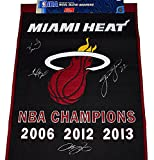 4X AUTOGRAPHED Lebron James / Dwayne Wade / Chris Bosh / James Jones 2014 Miami Heat Basketball 3X NBA CHAMPIONS Rare Signed 24X39 Inch Large NBA Official Wool Blend Championship Banner with COA