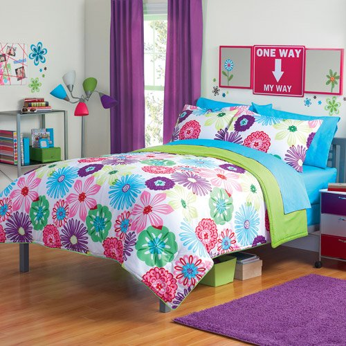 Purple Green Orange White Girls Multi Flower Twin Comforter Set 5