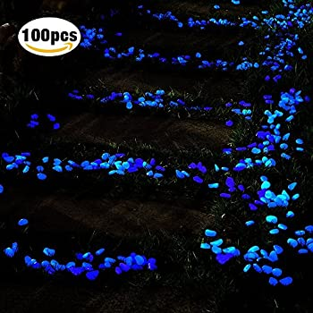 100 Pcs Glow in the Dark Garden Pebbles, Cozzine Garden Decor Glowing Stones Luminous Rocks for Outdoor Walkway Driveway, Fish Tank Aquatium Glow Decorations in Blue