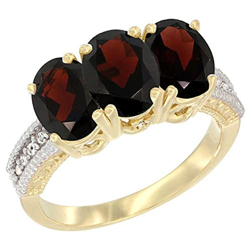 14ct Yellow Gold Natural Garnet Ring 3-Stone 7x5 mm Oval Diamond Accent, sizes J - T