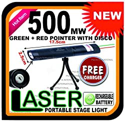 500mw GREEN LASER POINTER + DISCO WITH TRIPOD -PIA INTERNATIONAL