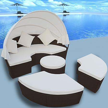 2-en-1 Conjunto de Tumbona de Ratán Marrón de Exterior Cama Solar Con Dosel