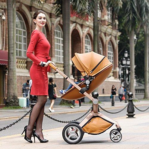 Hot Mom Kombikinderwagen und Buggy Sportwagen 3-in-1 Travelsystem 2016 Fashion mit Kinderwagenaufsatz ,Braun(Blau) -