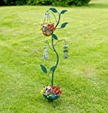 Verdigris Bird Feeding Station, Hanging Basket, Nut & Seed Feeder Planter Base Solar Light