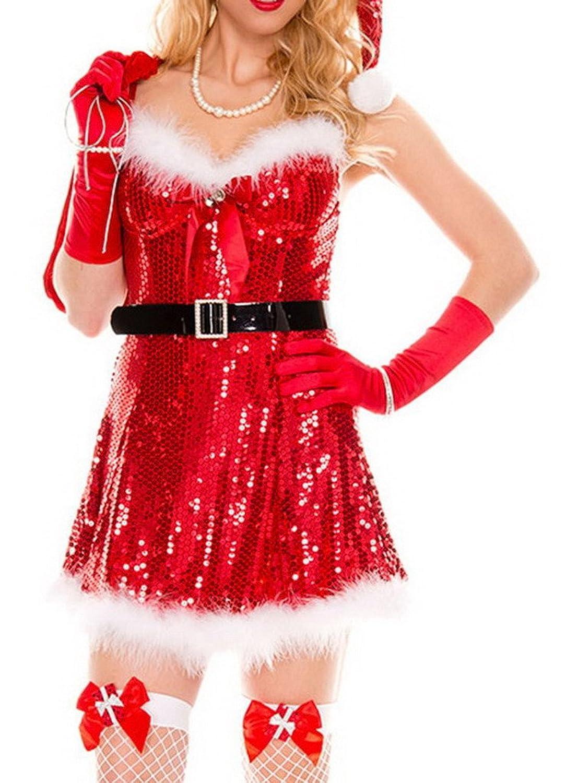 Bigood Blitz Pailletten Sexy Rollenspiel Kostüm Weihnachten Kostüm One-Size Rot günstig kaufen