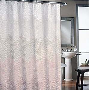 Cynthia Rowley Fabric Shower Curtain Dots Mosaic Chevrons Waves Salmon Brown Home