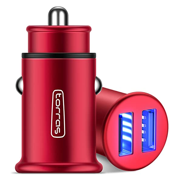 TORRAS All Metal Car Charger, Flush Fit 4.8A Fast Dual USB Car Charger Adapter Compatible with iPhone Xs/Xs Max/XR/X / 8/7 / Plus / 6, Galaxy S10 / S9