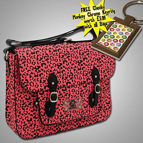 Paul Frank Leopard Print Satchel - Pink