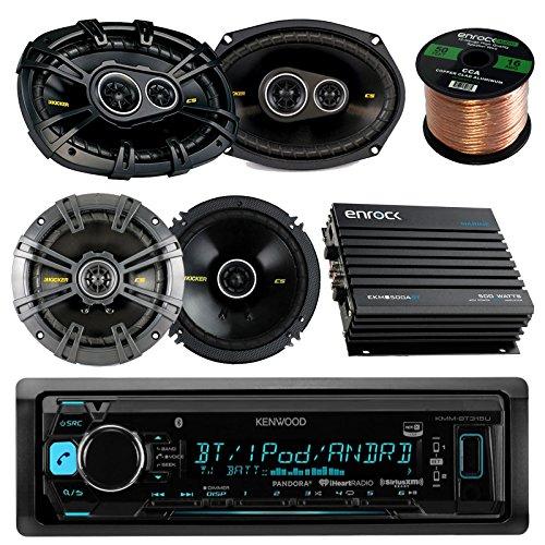 """kenwood KMMBT315U Single DIN Bluetooth CD Receiver - Kicker 6.5"""" 2-Way Speakers - Kicker 6x9"""" 3-Way Speaker - Enrock EKMB500ABT 400W 4-Channel Marine/Car Bluetooth Amplifier - Enrock 50Ft Speaker Wire"""
